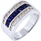 MENS 14KT WHITE GOLD BLUE SAPPHIRE DIAMOND RING WEDDING BAND BAGUETTE CUT