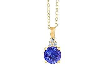 TANZANITE & DIAMOND PENDANT 14K YELLOW GOLD ROUND CUT 2.45 CARATS CABLE CHAIN
