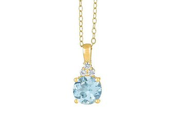 AQUAMARINE & DIAMOND PENDANT 14K YELLOW GOLD ROUND CUT 2.11 CARATS CABLE CHAIN