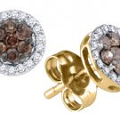 .25 CARAT BRILLIANT ROUND BROWN CHAMPAGNE DIAMOND HALO STUD EARRINGS YELLOW GOLD