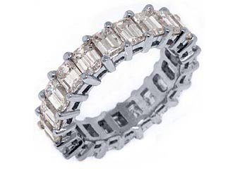 WOMENS 6 CARAT DIAMOND ETERNITY BAND WEDDING RING EMERALD CUT 14KT WHITE GOLD