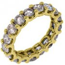 WOMENS 4.20 CARAT DIAMOND ETERNITY BAND WEDDING RING ROUND CUT 14KT YELLOW GOLD
