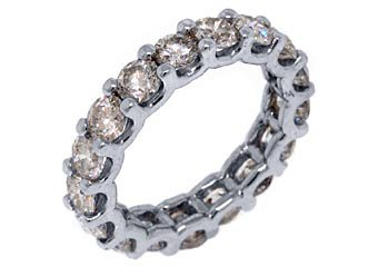 WOMENS 4.20 CARAT DIAMOND ETERNITY BAND WEDDING RING ROUND CUT 14KT WHITE GOLD