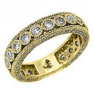 WOMENS DIAMOND ETERNITY BAND WEDDING RING ROUND CUT BEZEL SET 14KT YELLOW GOLD