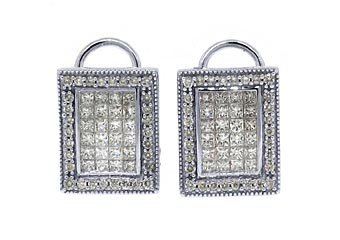 2.41 CARAT PRINCESS SQUARE CUT INVISIBLE DIAMOND STUD EARRINGS 18KT WHITE GOLD