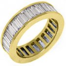 WOMENS 3 CARAT DIAMOND ETERNITY BAND WEDDING RING BAGUETTE CUT 14KT YELLOW  GOLD