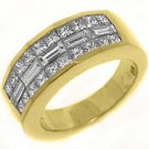 MENS 2 CARAT SQUARE BAGUETTE CUT DIAMOND RING WEDDING BAND 18KT YELLOW GOLD