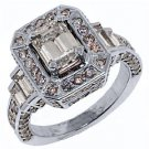 WOMENS 3 CARAT EMERALD ROUND CUT DIAMOND ENGAGEMENT HALO RING WHITE GOLD