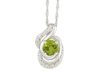 PERIDOT & DIAMOND PENDANT 925 STERLING SILVER 1.56 CARATS w/ CABLE CHAIN