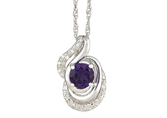 AMETHYST & DIAMOND PENDANT 925 STERLING SILVER 1.36 CARATS w/ CABLE CHAIN