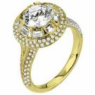 WOMENS DIAMOND ENGAGEMENT HALO RING ROUND SHAPE CUT 2.10 CARAT 14K YELLOW GOLD
