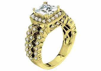 WOMENS DIAMOND ENGAGEMENT HALO RING PRINCESS CUT 1.62 CARAT 14K YELLOW GOLD