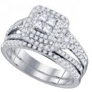 WOMENS DIAMOND ENGAGEMENT HALO RING WEDDING BAND BRIDAL SET PRINCESS SPLIT SHANK