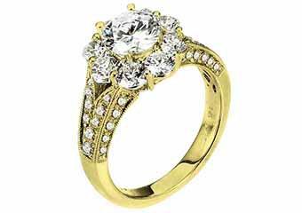 WOMENS DIAMOND ENGAGEMENT HALO RING ROUND SHAPE CUT 2.69 CARAT 14K YELLOW GOLD