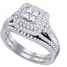 WOMENS DIAMOND ENGAGEMENT HALO RING WEDDING BAND BRIDAL SET PRINCESS 1.04 CARAT