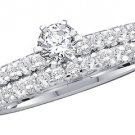 WOMENS DIAMOND ENGAGEMENT RING WEDDING BAND BRIDAL SET ROUND CUT 1 CARAT PRONG