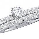 WOMENS DIAMOND ENGAGEMENT RING WEDDING BAND BRIDAL SET ROUND CUT 1 CARAT PRONG