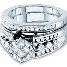WOMENS DIAMOND ENGAGEMENT RING WEDDING BAND BRIDAL SET ROUND CUT .99 CARATS