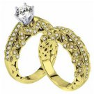 DIAMOND ENGAGEMENT RING WEDDING BAND BRIDAL SET ROUND CUT 2.11 CARAT YELLOW GOLD