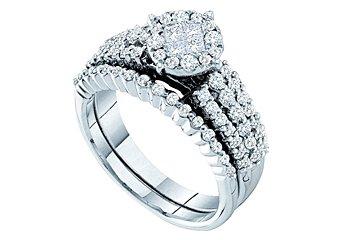 WOMENS DIAMOND ENGAGEMENT RING WEDDING BAND BRIDAL SET ROUND CUT 1.00 CARAT