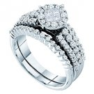 WOMENS DIAMOND ENGAGEMENT RING WEDDING BAND BRIDAL SET ROUND CUT 1.00 CARAT