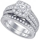 WOMENS DIAMOND HALO ENGAGEMENT RING WEDDING BAND BRIDAL SET PRINCESS CUT 1.47 CT