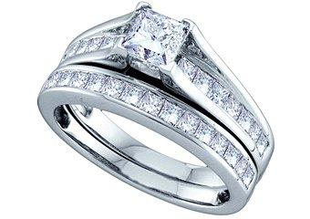 WOMENS DIAMOND ENGAGEMENT RING WEDDING BAND BRIDAL SET 1.51 CARAT PRINCESS CUT