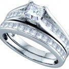 WOMENS DIAMOND ENGAGEMENT RING WEDDING BAND BRIDAL SET 1.51 CARAT PRINCESS CUT