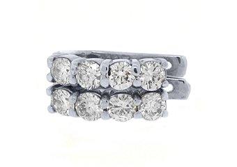 WOMENS 1.38 CARAT BRILLIANT ROUND CUT DIAMOND HOOP EARRINGS WHITE GOLD
