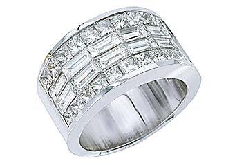 MENS 4 CARAT PRINCESS SQUARE CUT DIAMOND RING WEDDING BAND 18KT WHITE GOLD