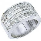 MENS 4 CARAT PRINCESS SQUARE CUT DIAMOND RING WEDDING BAND 18KT WHITE GOLD