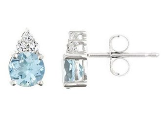 WHITE GOLD AQUAMARINE & DIAMOND STUD EARRINGS BRILLIANT ROUND CUT 6mm 14KT