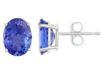 WHITE GOLD TANZANITE STUD EARRINGS OVAL SHAPE 8mmx6mm 14KT AAA QUALITY