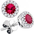 3/4 CARAT RUBY & DIAMOND STUD HALO EARRINGS 6.5mm ROUND JULY BIRTH STONE
