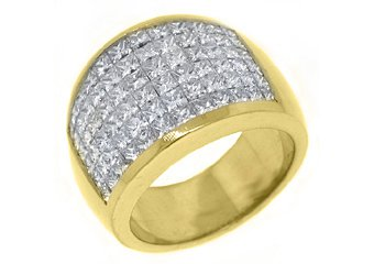 4.25 CARAT WOMENS PRINCESS CUT INVISIBLE DIAMOND RING WEDDING BAND YELLOW GOLD