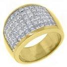 4.25 CARAT WOMENS PRINCESS CUT INVISIBLE DIAMOND RING WEDDING BAND YELLOW GOLD