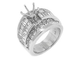 5 CARAT WOMENS DIAMOND ENGAGEMENT RING SEMI-MOUNT PRINCESS SQUARE CUT PLATINUM