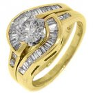 2CT WOMENS DIAMOND ENGAGEMENT RING WEDDING BAND BRIDAL SET ROUND YELLOW GOLD