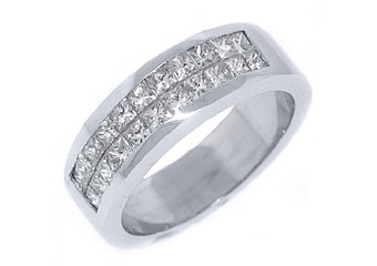 1.4CT WOMENS PRINCESS SQUARE CUT INVISIBLE DIAMOND RING WEDDING BAND WHITE GOLD