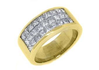 1.9CT WOMENS PRINCESS SQUARE CUT INVISIBLE DIAMOND RING WEDDING BAND YELLOW GOLD