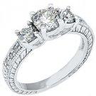 1.43 CARAT WOMENS 3-STONE PAST PRESENT FUTURE DIAMOND RING ROUND CUT WHITE GOLD