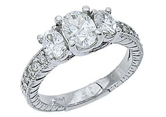 1.5 CARAT WOMENS 3-STONE PAST PRESENT FUTURE DIAMOND RING OVAL SHAPE WHITE GOLD