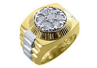 MENS 2 CARAT BRILLIANT ROUND CUT SHAPE DIAMOND RING 14K YELLOW WHITE GOLD