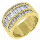 2.45CT WOMENS PRINCESS BAGUETTE INVISIBLE DIAMOND RING WEDDING BAND YELLOW GOLD