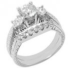 1.7CT DIAMOND ENGAGEMENT RING WEDDING BAND BRIDAL SET ROUND CUT 14K WHITE GOLD