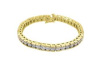 "WOMENS ROUND DIAMOND BOX TENNIS BRACELET 13.75 CARAT 14KT YELLOW GOLD 8"" INCH"