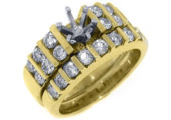 1.4 CARAT WOMENS DIAMOND ENGAGEMENT RING SEMI-MOUNT SET PRINCESS CUT YELLOW GOLD