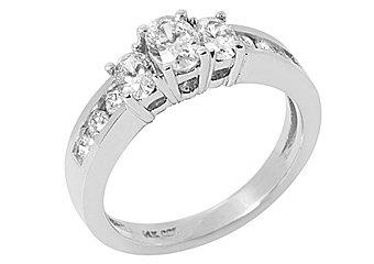 1.4 CARAT WOMENS 3-STONE PAST PRESENT FUTURE DIAMOND RING OVAL SHAPE WHITE GOLD
