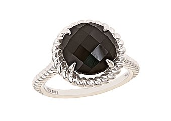 WOMENS BLACK AGATE RING 5.12 CARAT CHECK TOP 11mm ROUND 925 STERLING SILVER