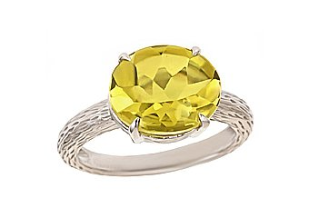 WOMENS LIME QUARTZ RING 4.4 CARAT BUFF TOP 12mm OVAL SHAPE 925 STERLING SILVER